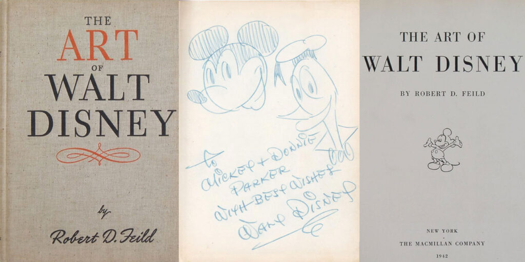 Art of Walt Disney book with signed Mickey and Donald Sketch